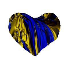 Blue And Gold Fractal Lava Standard 16  Premium Heart Shape Cushions