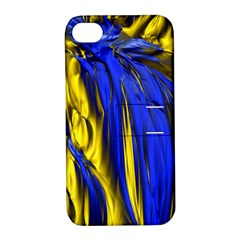Blue And Gold Fractal Lava Apple iPhone 4/4S Hardshell Case with Stand