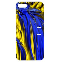 Blue And Gold Fractal Lava Apple iPhone 5 Hardshell Case with Stand