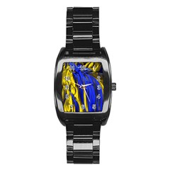 Blue And Gold Fractal Lava Stainless Steel Barrel Watch
