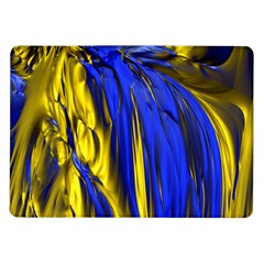 Blue And Gold Fractal Lava Samsung Galaxy Tab 10 1  P7500 Flip Case