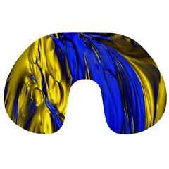 Blue And Gold Fractal Lava Travel Neck Pillows