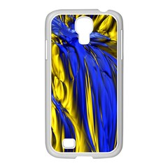 Blue And Gold Fractal Lava Samsung GALAXY S4 I9500/ I9505 Case (White)
