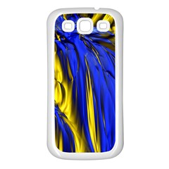 Blue And Gold Fractal Lava Samsung Galaxy S3 Back Case (White)