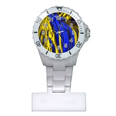 Blue And Gold Fractal Lava Plastic Nurses Watch