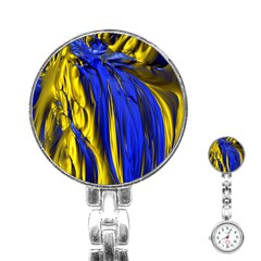 Blue And Gold Fractal Lava Stainless Steel Nurses Watch