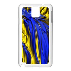 Blue And Gold Fractal Lava Samsung Galaxy Note 3 N9005 Case (White)