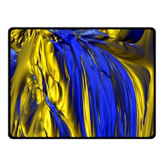 Blue And Gold Fractal Lava Double Sided Fleece Blanket (Small)