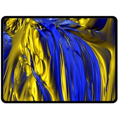 Blue And Gold Fractal Lava Double Sided Fleece Blanket (Large)