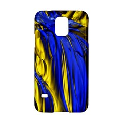 Blue And Gold Fractal Lava Samsung Galaxy S5 Hardshell Case
