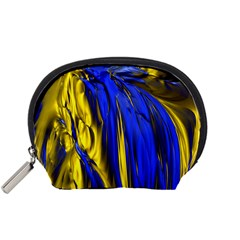 Blue And Gold Fractal Lava Accessory Pouches (Small)