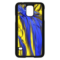 Blue And Gold Fractal Lava Samsung Galaxy S5 Case (Black)