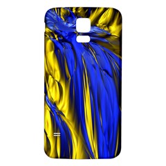 Blue And Gold Fractal Lava Samsung Galaxy S5 Back Case (white)