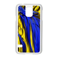 Blue And Gold Fractal Lava Samsung Galaxy S5 Case (White)