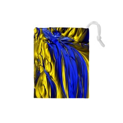 Blue And Gold Fractal Lava Drawstring Pouches (Small)