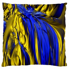 Blue And Gold Fractal Lava Large Flano Cushion Case (One Side)