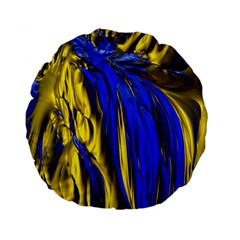 Blue And Gold Fractal Lava Standard 15  Premium Flano Round Cushions