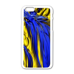 Blue And Gold Fractal Lava Apple iPhone 6/6S White Enamel Case