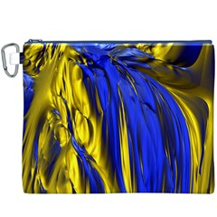 Blue And Gold Fractal Lava Canvas Cosmetic Bag (XXXL)