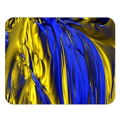 Blue And Gold Fractal Lava Double Sided Flano Blanket (Large)