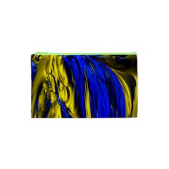 Blue And Gold Fractal Lava Cosmetic Bag (XS)