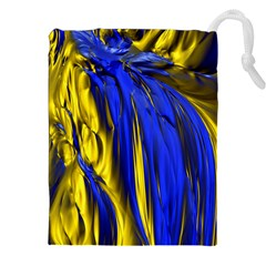 Blue And Gold Fractal Lava Drawstring Pouches (xxl)