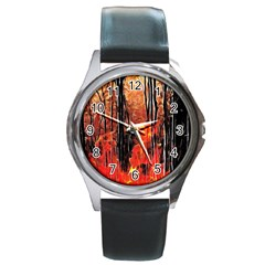 Forest Fire Fractal Background Round Metal Watch