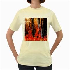 Forest Fire Fractal Background Women s Yellow T Shirt