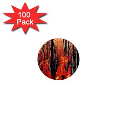 Forest Fire Fractal Background 1  Mini Magnets (100 pack)