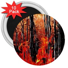 Forest Fire Fractal Background 3  Magnets (10 Pack)