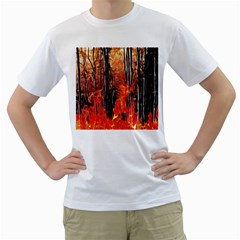 Forest Fire Fractal Background Men s T Shirt (white) (two Sided)