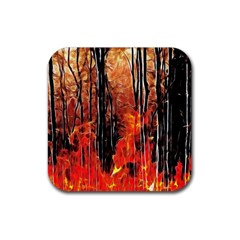 Forest Fire Fractal Background Rubber Square Coaster (4 Pack)