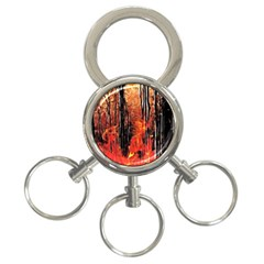 Forest Fire Fractal Background 3-Ring Key Chains