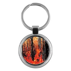 Forest Fire Fractal Background Key Chains (round)