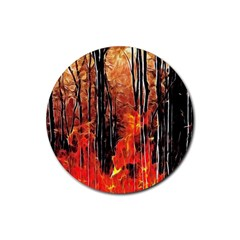 Forest Fire Fractal Background Rubber Coaster (round)