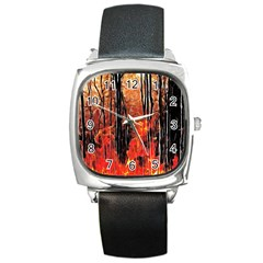 Forest Fire Fractal Background Square Metal Watch