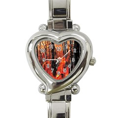 Forest Fire Fractal Background Heart Italian Charm Watch