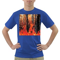 Forest Fire Fractal Background Dark T-Shirt