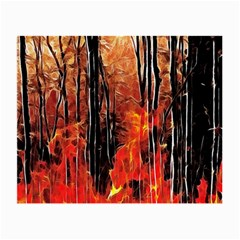 Forest Fire Fractal Background Small Glasses Cloth