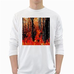 Forest Fire Fractal Background White Long Sleeve T Shirts