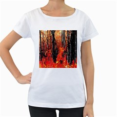 Forest Fire Fractal Background Women s Loose-Fit T-Shirt (White)