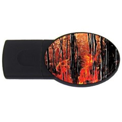 Forest Fire Fractal Background Usb Flash Drive Oval (4 Gb)