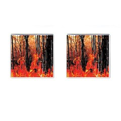 Forest Fire Fractal Background Cufflinks (square)