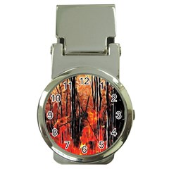 Forest Fire Fractal Background Money Clip Watches