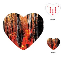 Forest Fire Fractal Background Playing Cards (Heart)