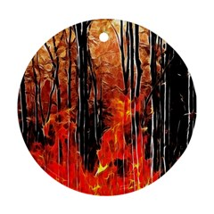 Forest Fire Fractal Background Round Ornament (Two Sides)