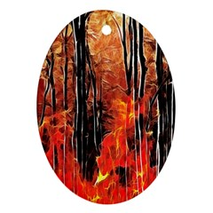 Forest Fire Fractal Background Oval Ornament (Two Sides)