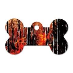 Forest Fire Fractal Background Dog Tag Bone (one Side)