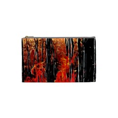 Forest Fire Fractal Background Cosmetic Bag (Small)