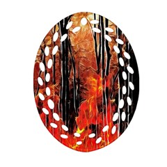 Forest Fire Fractal Background Oval Filigree Ornament (two Sides)